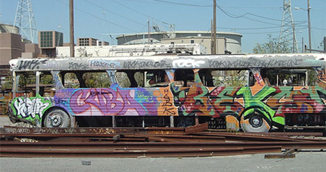 abandoned graffiti bus san francisco