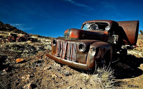 abandoned old truck in the desert