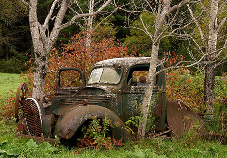 abandoned vehicles old faded car