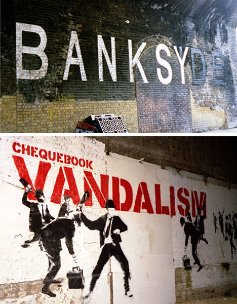 banksy london bridge guerrilla art