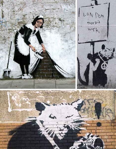 banksy london rats and maid