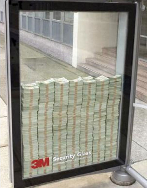 guerrilla marketing 3m security glass money