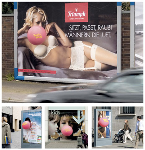 guerrilla marketing bubble gum lingerie ads
