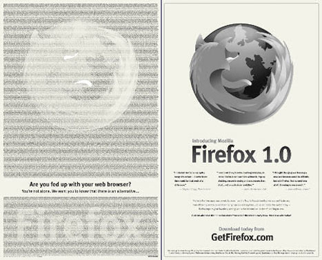 guerrilla marketing firefox new york times ad