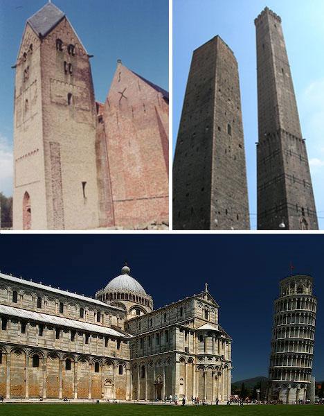leaning towers pisa walfridus bedum asinelli