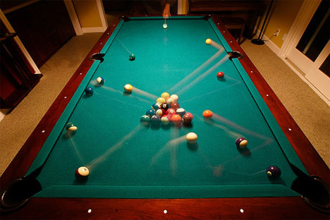 motion blur photograph pool table