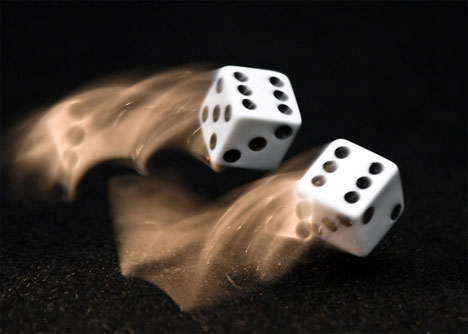 motion blur photograph twisting dice