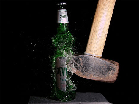 stefan high speed photography beer bottle