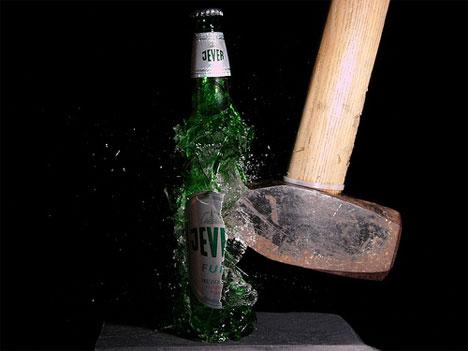 stefan high speed photography beer bottle