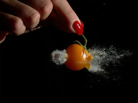 stefan high speed photography cherry tomato