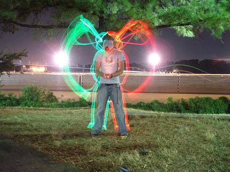 time lapse photography light graffiti growing wings