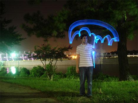 time lapse photography light graffiti umbrella