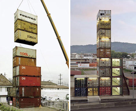 Shipping Container Office and Shop Tower