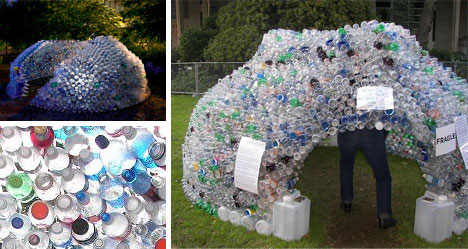 Recycled plastic bottle igloo building urbanist for Building with recycled plastic