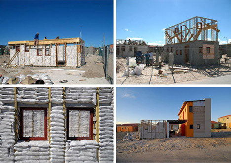 Structural sand bag walled house urbanist for Cost of materials to build a home