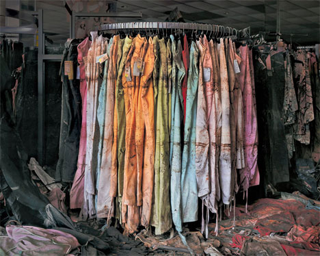 Chris Jordan - In Katrina's Wake - clothing store rack