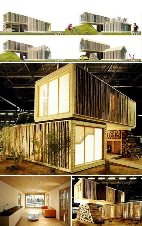 Cargo container style wooden prefab home urbanist for Village craft container home