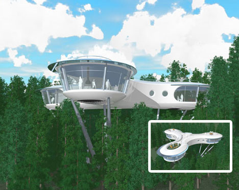 Creative futuristic tree house design urbanist for Creative house designs