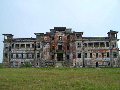 abandoned bokor hill exterior