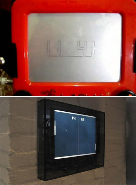 Etch-a-Sketch and Pong clocks