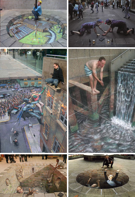 Julian Beever 3D Sidewalk Chalk Art