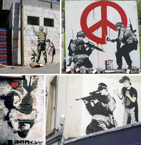 4 banksy military stencils and graffiti1