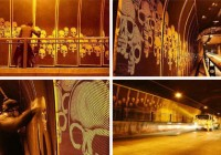 Reverse Graffiti Skulls by Orion
