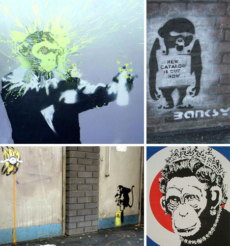 Banksy Monkey Art and Graffiti
