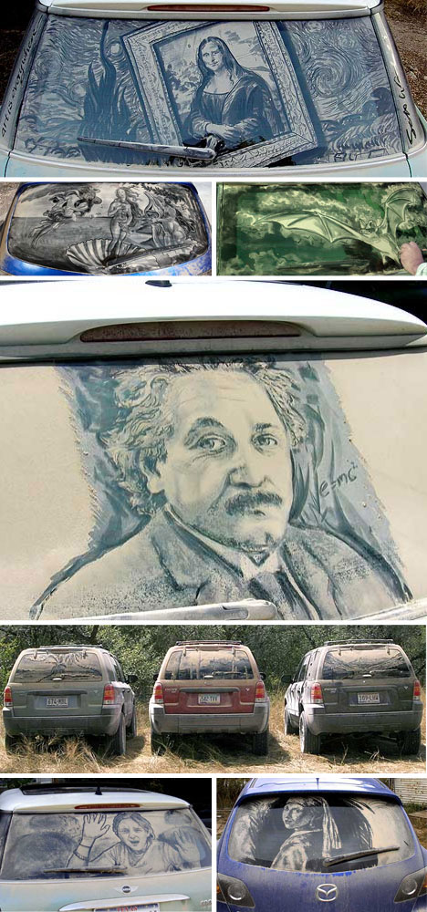 Reverse Graffiti Dirty Car Drawings