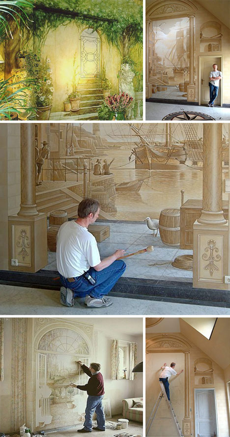 3D Interior Wall Drawings And Paintings