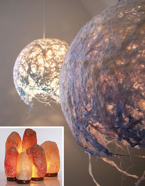 Cocoon lampshade and Salt lamp