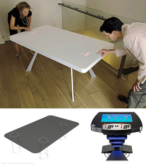 Pong table, Asteroid table and Novotable