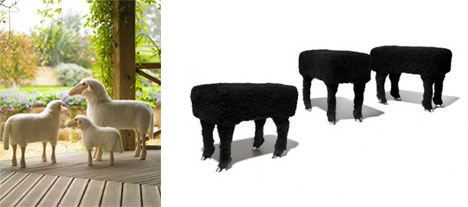 Sheep and Headless Sheep Stool