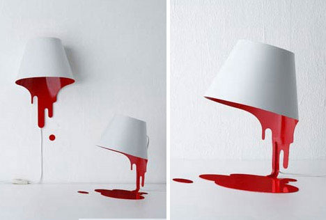 a wall hanging or table stable blood lamp might be the perfect companion piece to the above table concept both also appear to defy conventions of physics - Design Idea