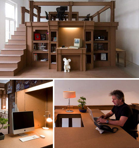 Completely Cardboard Office Interior
