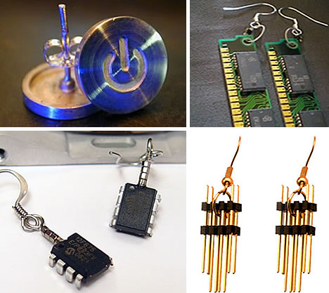 42 fantastic fusions of tech and art in geek jewelry urbanist do it yourself geek earrings earrings1 solutioingenieria Image collections