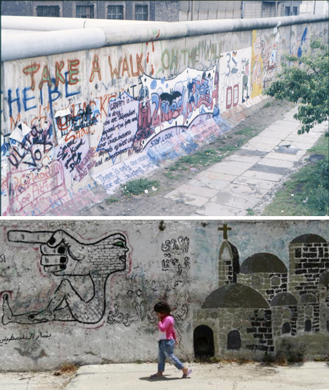 berlin wall and west bank wall