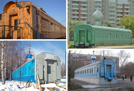converted train car churches