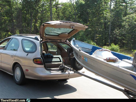 hauling boat with hatchback