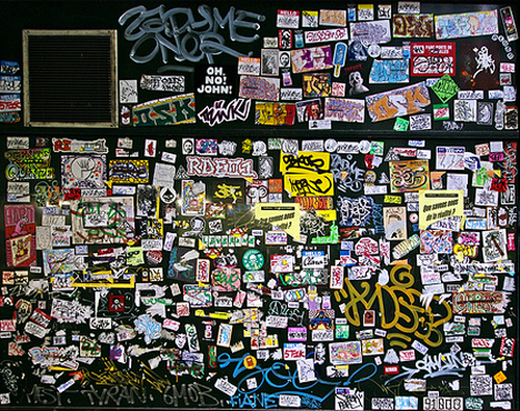 paris stickers graffiti wall