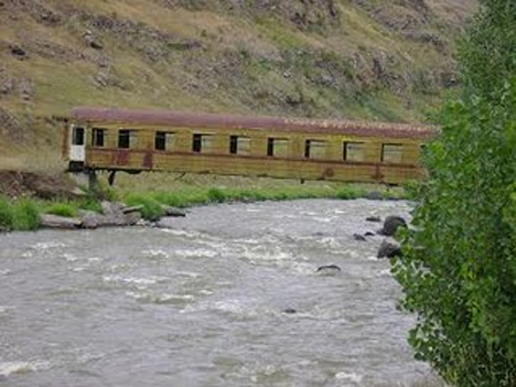 recycled train car bridge
