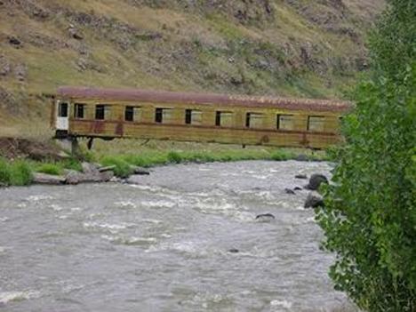 recycled train car bridge