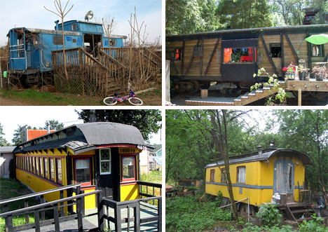 recycled train car homes
