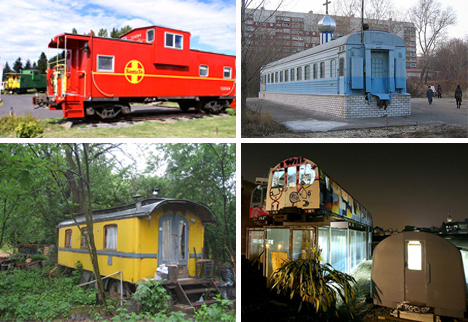 recycled train cars