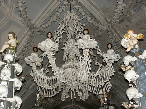 Elegant sedlec ossuary bone church bone chandelier