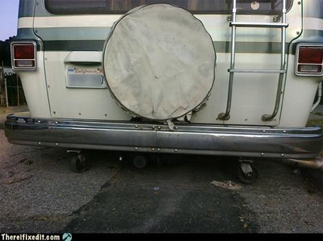 tiny rear tires on van