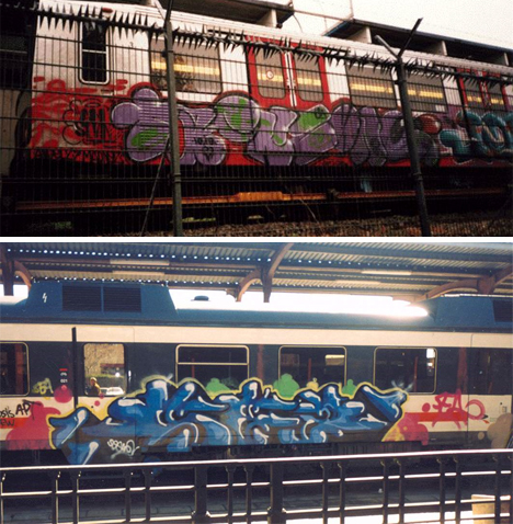trains graffiti