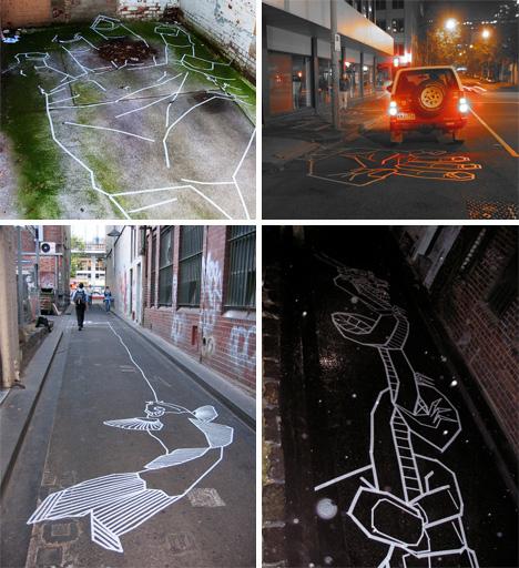 buffdiss street and alley masking tape graffiti