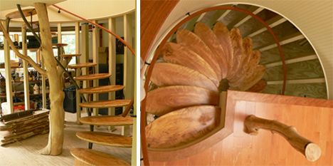 cherry tree wooden library stairs
