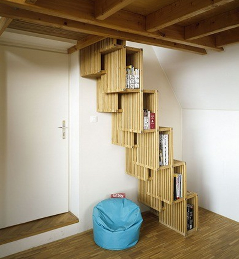 czech bookcase alternating stairs
